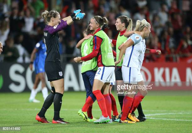Goalkeeper of England Siobhan Chamberlain and teammates celebrate the victory following the UEFA Women's Euro 2017 quarter final match between...