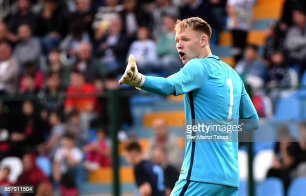 Goalkeeper of England U20 Aaron Ramsdaie gestures during the 8 Nations Tournament match between Italy U20 and England U20 on October 5 2017 in...
