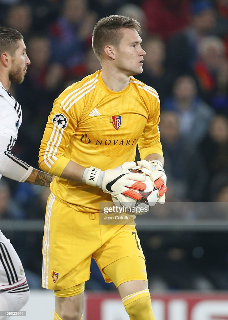 Goalkeeper of FC Basel <a gi-track='captionPersonalityLinkClicked' href=/galleries/search?phrase=Tomas+Vaclik&family=editorial&specificpeople=5437912 ng-click='$event.stopPropagation()'>Tomas Vaclik</a> in action during the UEFA Champions League Group B match between FC Basel 1893 and Real Madrid CF at St. Jakob-Park stadium on November 26, 2014 in Basel, Basel-Stadt, Switzerland.