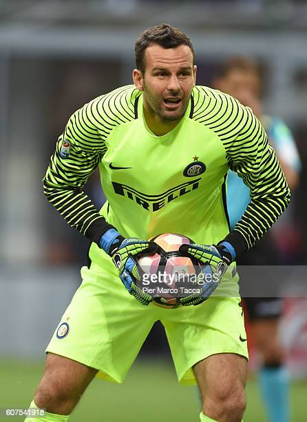 Goalkeeper of FC Internazionale Samir Handanovic gestures during the Serie A match between FC Internazionale and Juventus FC at Stadio Giuseppe...