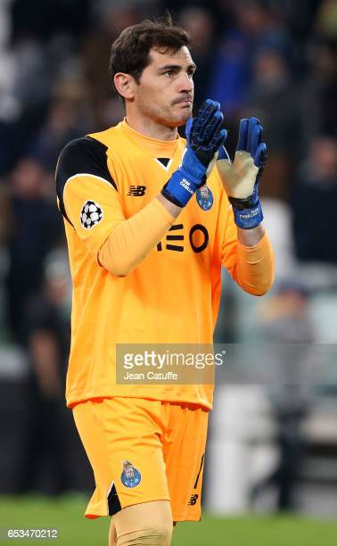 Goalkeeper of FC Porto Iker Casillas greets the supporters following the UEFA Champions League Round of 16 second leg match between Juventus Turin...