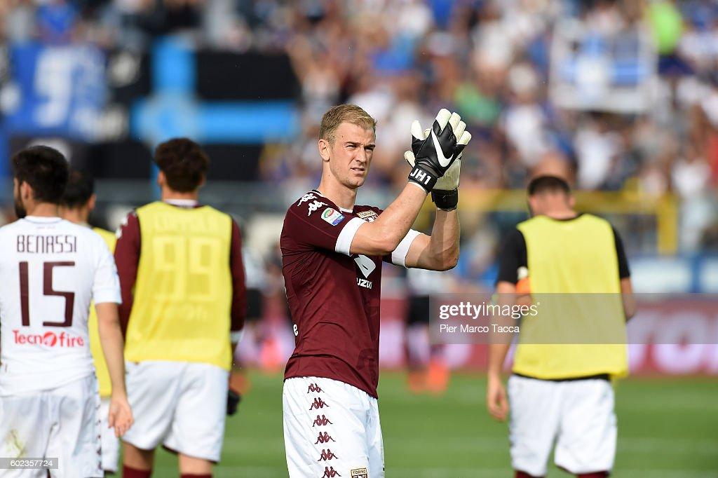 Goalkeeper of FC Torino Joe Hart gestures during the Serie a match between Atalanta BC and FC Torino at Stadio Atleti Azzurri d'Italia on September 11, 2016 in Bergamo, Italy.