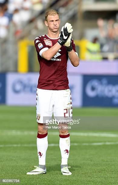 Goalkeeper of FC Torino Joe Hart gestures during the Serie a match between Atalanta BC and FC Torino at Stadio Atleti Azzurri d'Italia on September...