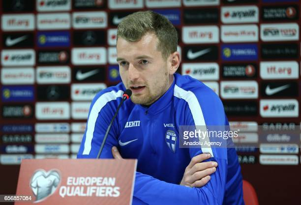 Goalkeeper of Finland National Football Team Lukas Hradecky attends a press conference ahead of the 2018 FIFA World Cup European Qualifying football...