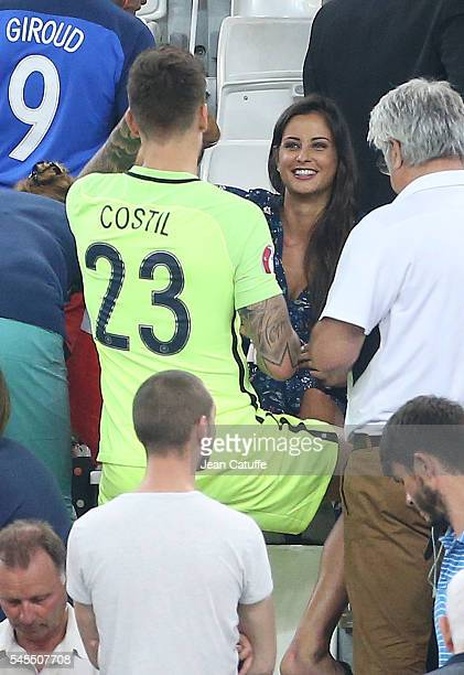 Goalkeeper of France Benoit Costil and Miss France 2010 Malika Menard following the UEFA Euro 2016 semifinal match between Germany and France at...