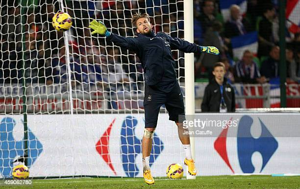 Goalkeeper of France Benoit Costil warms up before the international friendly match between France and Albania at Stade de la Route de Lorient...