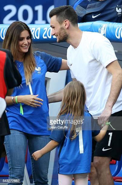 Goalkeeper of France Hugo Lloris meets his wife Marine Lloris and their daughter Anna Rose Lloris following the UEFA EURO 2016 round of 16 match...