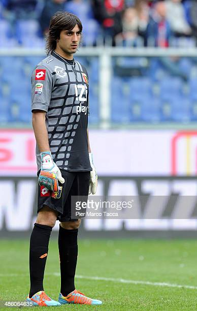 Goalkeeper of Genoa CFC Mattia Perin during the Serie A match between Genoa CFC and Cagliari Calcio at Stadio Luigi Ferraris on April 19 2014 in...