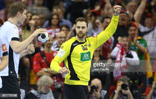 Goalkeeper of Germany Andreas Wolff celebrates stopping a goal during the final of the Men's EHF European Handball Championship 2016 between Spain...