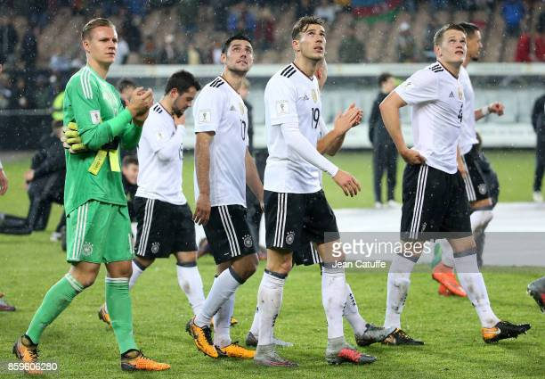 Goalkeeper of Germany Bernd Leno Lars Stindl Leon Goretzka Matthias Ginter of Germany salute the fans following the FIFA 2018 World Cup Qualifier...