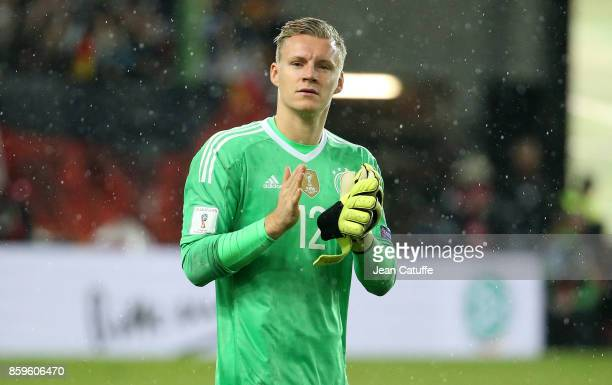 Goalkeeper of Germany Bernd Leno salutes the fans following the FIFA 2018 World Cup Qualifier between Germany and Azerbaijan at FritzWalter Stadium...
