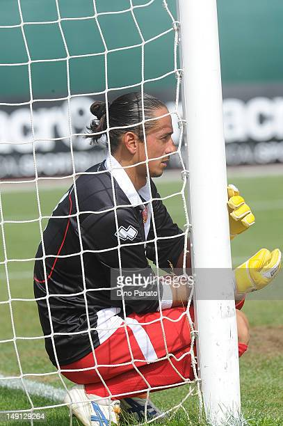 Goalkeeper of Grosseto Nicolas Bremec looks on during the preseason friendly match between SSC Napoli and US Grosseto on July 23 2012 in Dimaro near...