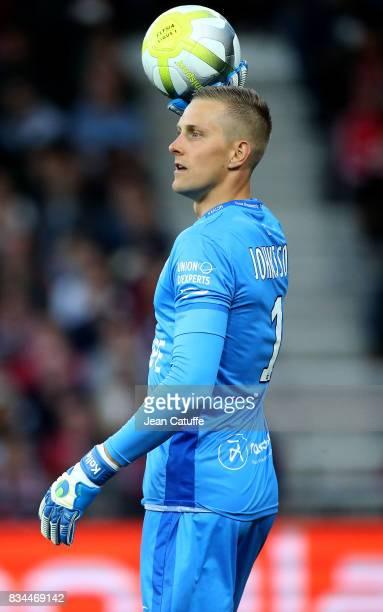 Goalkeeper of Guingamp KarlJohan Johnsson during the French Ligue 1 match between En Avant Guingamp and Paris Saint Germain at Stade de Roudourou on...