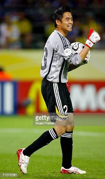 Goalkeeper of Japan Yoshikatsu Kawaguchi gives the thumbs up during the FIFA World Cup Germany 2006 Group F match between Japan and Brazil at the...