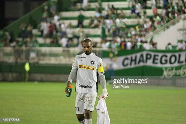 Goalkeeper of Jefferson after a match between Chapecoense and Botafogo for the Brazilian Series A 2014 at Arena Conda Stadium on November 23 2014 in...