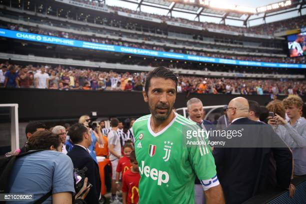 Goalkeeper of Juventus Gianluigi Buffon enters the pitch ahead of International Champions Cup 2017 friendly match between Juventus and Barcelona at...