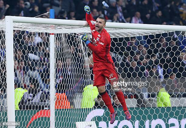 Goalkeeper of Lyon Anthony Lopes celebrates the goal of Lyon during the French Ligue 1 match between Olympique Lyonnais and Paris SaintGermain at...