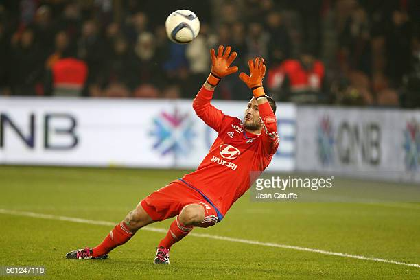 Goalkeeper of Lyon Anthony Lopes concedes the fifth goal during the French Ligue 1 match between Paris SaintGermain and Olympique Lyonnais at Parc...