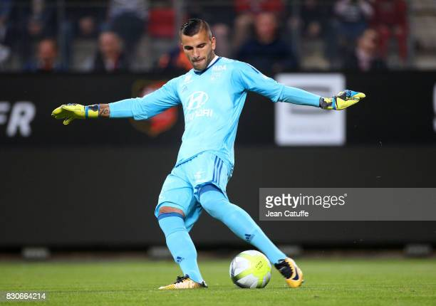 Goalkeeper of Lyon Anthony Lopes during the French Ligue 1 match between Stade Rennais and Olympique Lyonnais at Roazhon Park on August 11 2017 in...