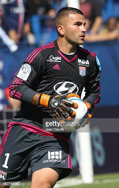 Goalkeeper of Lyon Anthony Lopes in action during the 2015 Trophee des Champions between Paris SaintGermain and Olympique Lyonnais at Stade Saputo on...