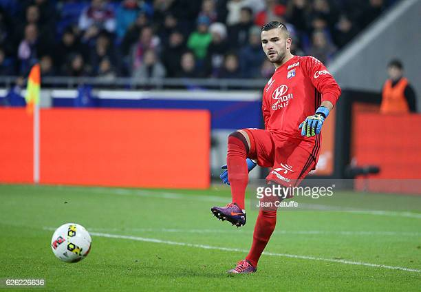 Goalkeeper of Lyon Anthony Lopes in action during the French Ligue 1 match between Olympique Lyonnais and Paris SaintGermain at Parc OL stadium on...