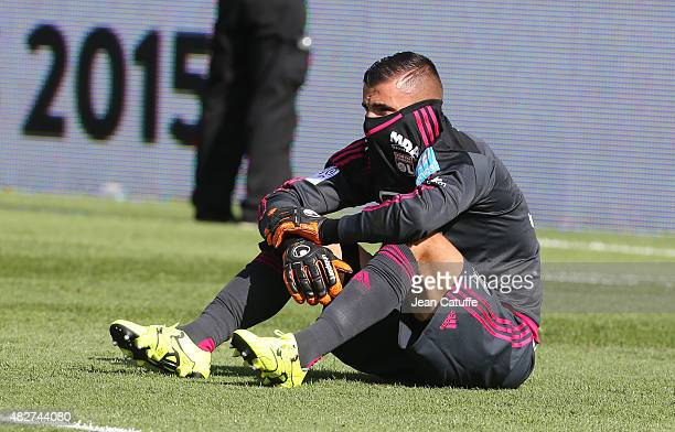 Goalkeeper of Lyon Anthony Lopes is dejected after the 2015 Trophee des Champions between Paris SaintGermain and Olympique Lyonnais at Stade Saputo...