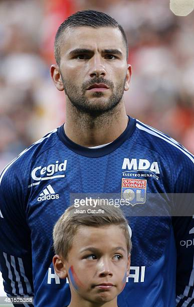 Goalkeeper of Lyon Anthony Lopes looks on before the friendly match between Olympique Lyonnais and AC Milan at Stade de Gerland on July 18 2015 in...