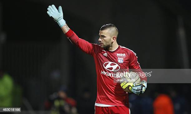 Goalkeeper of Lyon Anthony Lopes reacts during the French Ligue 1 match between Olympique Lyonnais and Paris SaintGermain FC at Stade de Gerland on...