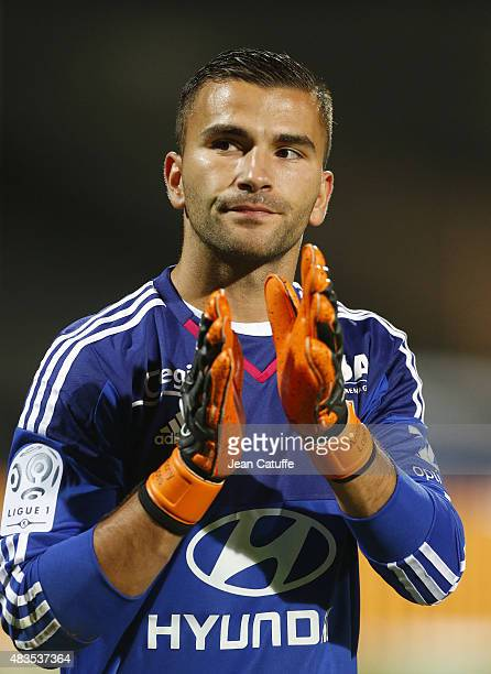Goalkeeper of Lyon Anthony Lopes thanks the supporters after the French Ligue 1 match between Olympique Lyonnais and FC Lorient at Stade de Gerland...