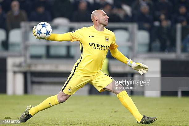 Goalkeeper of Manchester City Willy Caballero in action during the UEFA Champions League match between Juventus Turin and Manchester City FC at...