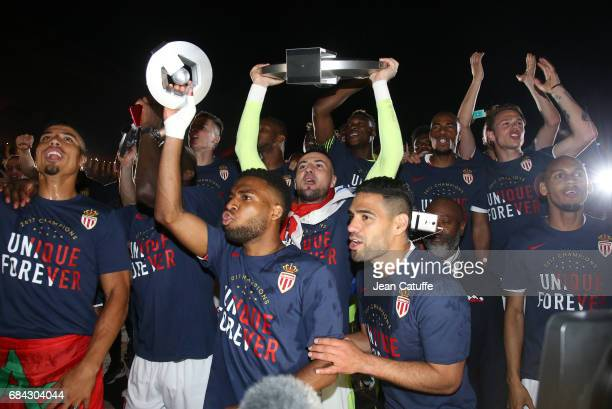 Goalkeeper of Monaco Danijel Subasic holding the trophy Thomas Lemar Radamel Falcao and teammates during the French League 1 Championship title...