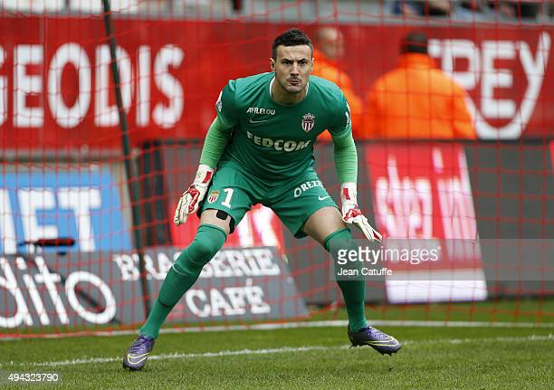 Goalkeeper of Monaco Danijel Subasic in action during the French Ligue 1 match between Stade de Reims and AS Monaco at Stade Auguste Delaune on...
