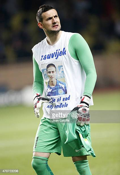 Goalkeeper of Monaco Danijel Subasic looks on at the end of the UEFA Champions League Quarter Final second leg match between AS Monaco FC and...