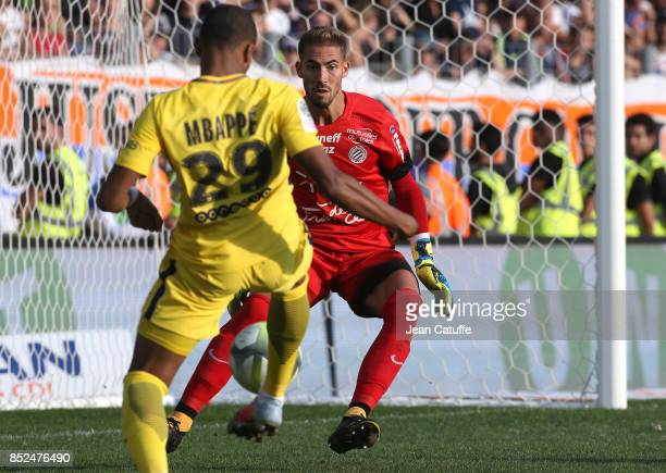 Goalkeeper of Montpellier Benjamin Lecomte facing Kylian Mbappe of PSG during the French Ligue 1 match between Montpellier Herault SC and Paris Saint...