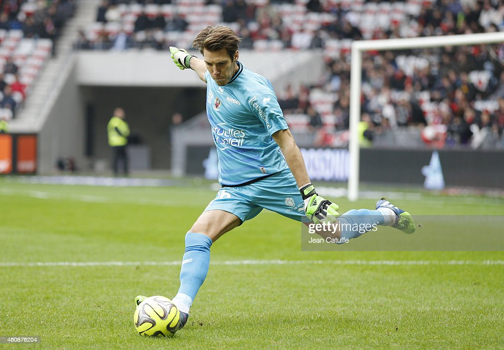 Goalkeeper of Nice <a gi-track='captionPersonalityLinkClicked' href=/galleries/search?phrase=Simon+Pouplin&family=editorial&specificpeople=2087398 ng-click='$event.stopPropagation()'>Simon Pouplin</a> in action during the French Ligue 1 match between OGC Nice and AS Saint-Etienne, ASSE, at the Allianz Riviera stadium on December 14, 2014 in Nice, France.