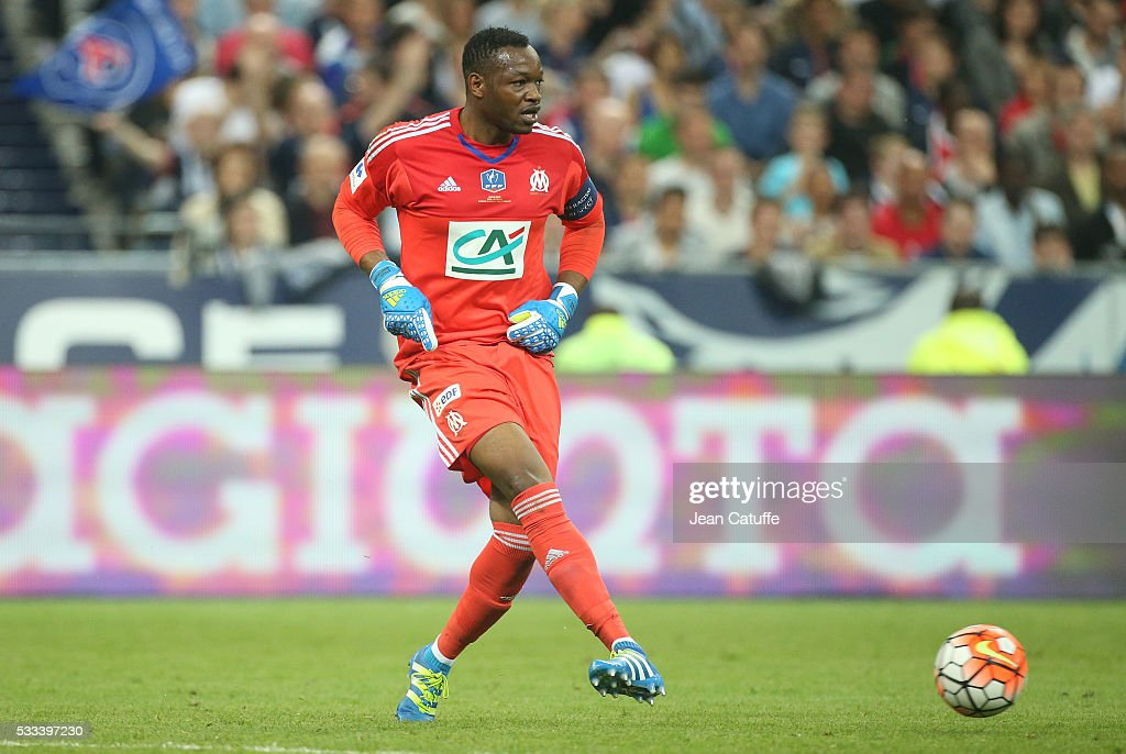 Goalkeeper of OM Steve Mandanda in action during the French Cup Final match between Paris SaintGermain and Olympique de Marseille at Stade de France...