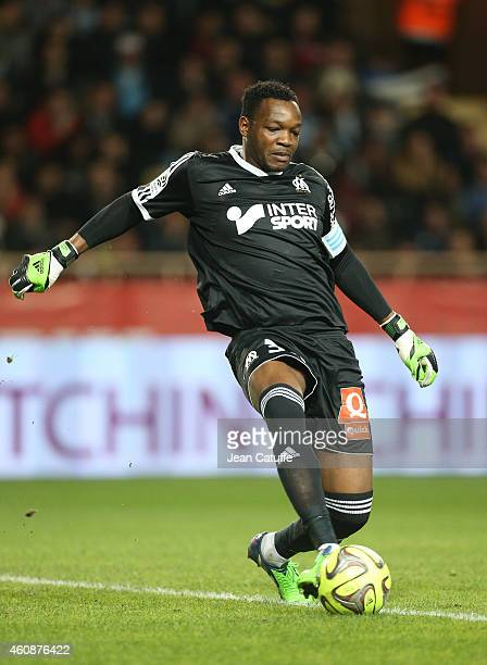 Goalkeeper of OM Steve Mandanda in action during the French Ligue 1 match between AS Monaco FC v Olympique de Marseille OM at Stade Louis II on...