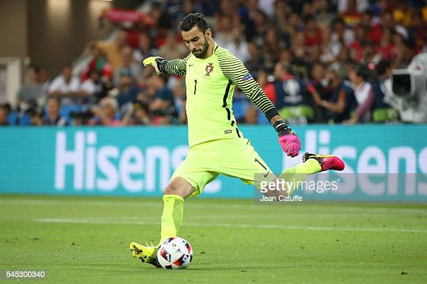 Goalkeeper of Portugal Rui Patricio in action during the UEFA Euro 2016 semifinal between Wales and Portugal at Parc OL Stade des Lumieres on July 6...