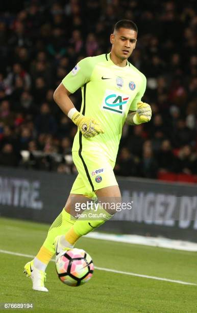 Goalkeeper of PSG Alphonse Areola in action during the French Cup semifinal match between Paris SaintGermain and AS Monaco at Parc des Princes...