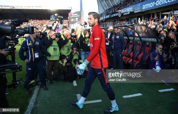 Goalkeeper of PSG Kevin Trapp during the French Ligue 1 match between En Avant Guingamp and Paris Saint Germain at Stade de Roudourou on August 13...