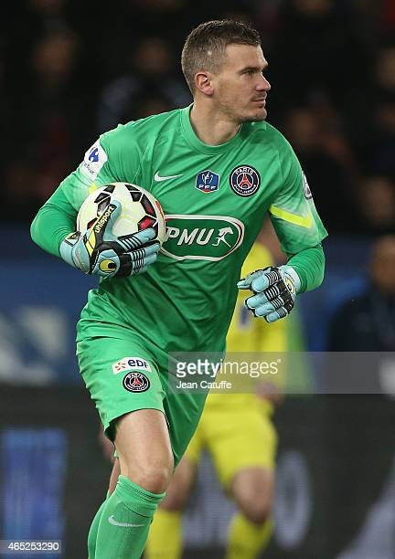 Goalkeeper of PSG Nicolas Douchez in action during the French Cup match between Paris SaintGermain FC and AS Monaco FC at Parc des Princes stadium on...