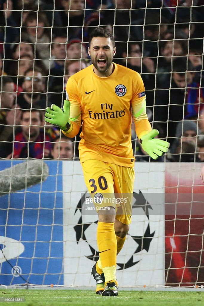 Goalkeeper of PSG <a gi-track='captionPersonalityLinkClicked' href=/galleries/search?phrase=Salvatore+Sirigu&family=editorial&specificpeople=5969515 ng-click='$event.stopPropagation()'>Salvatore Sirigu</a> reacts during the UEFA Champions League Group F match between FC Barcelona and Paris Saint-Germain FC at Camp Nou stadium on December 10, 2014 in Barcelona, Spain.