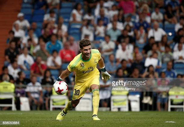 Goalkeeper of Real Madrid Luca Zidane in action during the Santiago Bernabeu Cup soccer match between Real Madrid and Fiorentina at Santiago Bernabeu...