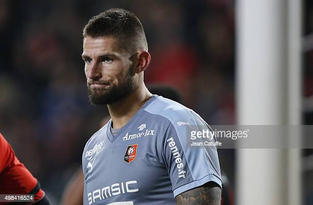 Goalkeeper of Rennes Benoit Costil looks on during the French Ligue 1 match between Stade Rennais and Girondins de Bordeaux at Roazhon Park stadium...