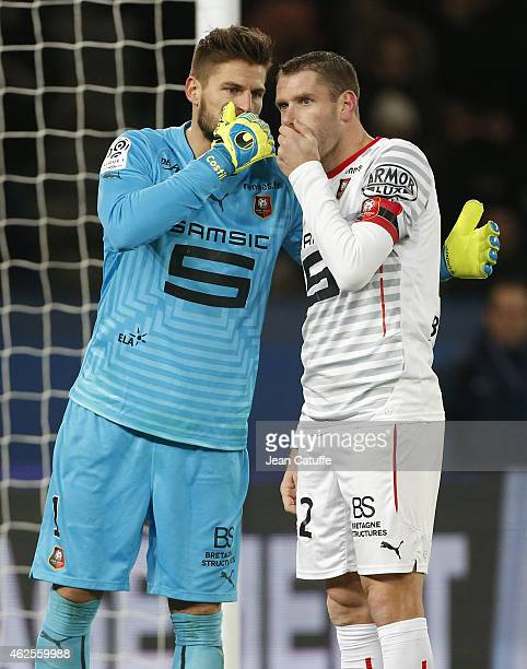 Goalkeeper of Rennes Benoit Costil talks to teammate Sylvain Armand during the French Ligue 1 match between Paris SaintGermain FC and Stade Rennais...