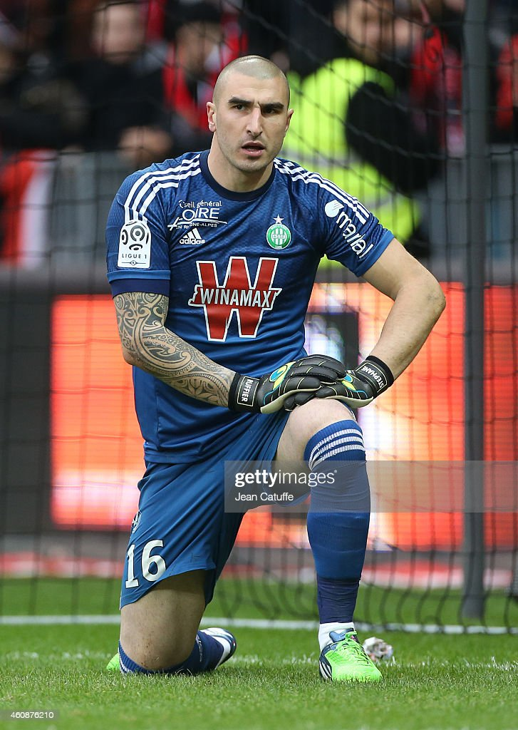 Goalkeeper of Saint-Etienne <a gi-track='captionPersonalityLinkClicked' href=/galleries/search?phrase=Stephane+Ruffier&family=editorial&specificpeople=4978820 ng-click='$event.stopPropagation()'>Stephane Ruffier</a> in action during the French Ligue 1 match between OGC Nice and AS Saint-Etienne, ASSE, at the Allianz Riviera stadium on December 14, 2014 in Nice, France.