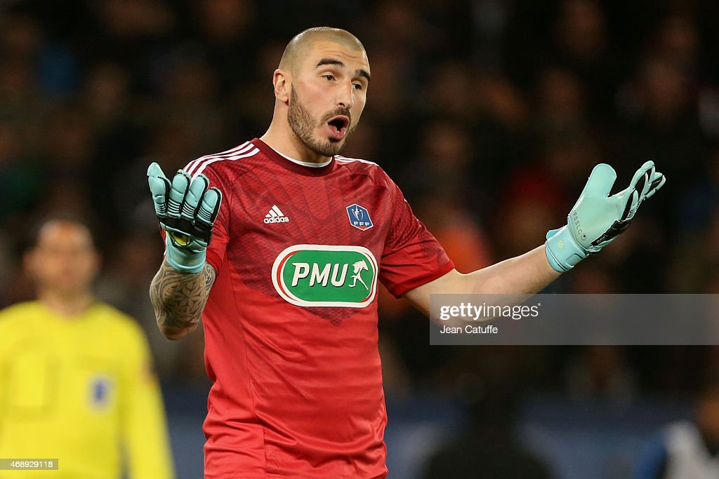 Goalkeeper of Saint-Etienne <a gi-track='captionPersonalityLinkClicked' href=/galleries/search?phrase=Stephane+Ruffier&family=editorial&specificpeople=4978820 ng-click='$event.stopPropagation()'>Stephane Ruffier</a> reacts during the French Cup semi-final match between Paris Saint-Germain FC (PSG) and AS Saint-Etienne (ASSE) at Parc des Princes stadium on April 8, 2015 in Paris, France.