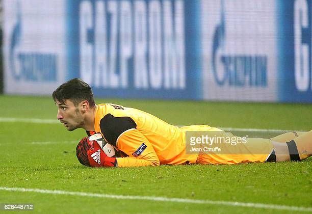 Goalkeeper of Sevilla FC Sergio Rico in action during the UEFA Champions League match between Olympique Lyonnais and Sevilla FC at Parc OL on...