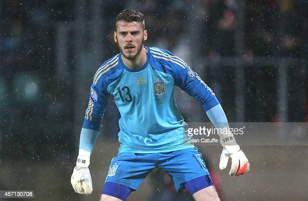 Goalkeeper of Spain David de Gea in action during the Euro 2016 qualifier match between Luxembourg and Spain at Stade Josy Barthel stadium on October...