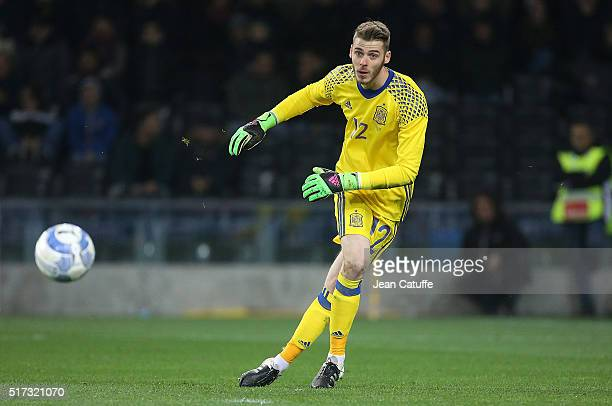 Goalkeeper of Spain David de Gea in action during the international friendly match between Italy and Spain at Stadio Friuli on March 24 2016 in Udine...